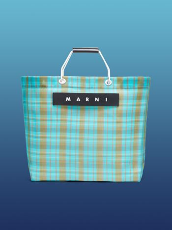 Marni MARNI MARKET pale blue and green striped shopping bag in polyamide  Man