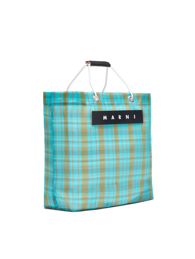 Marni MARNI MARKET pale blue and green striped shopping bag in polyamide  Man - 2