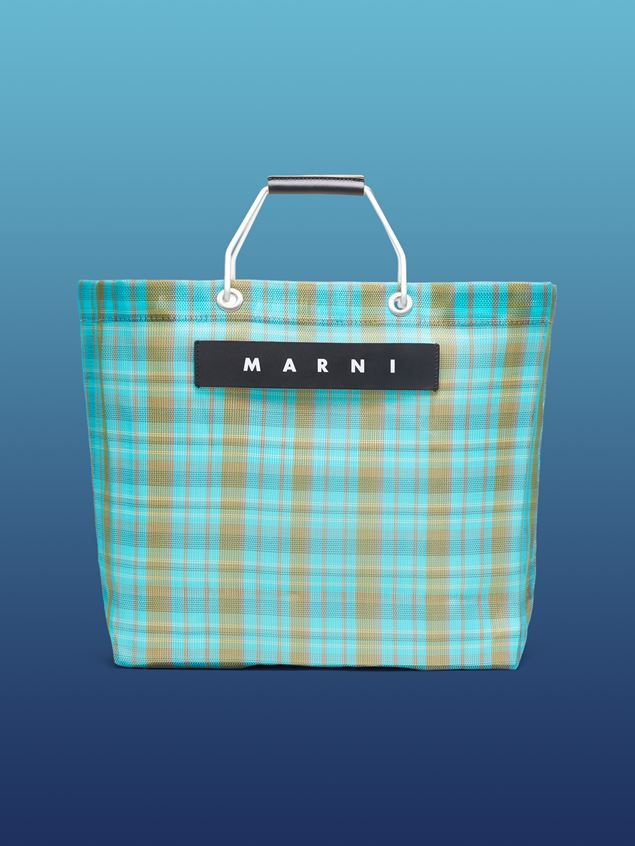 Marni MARNI MARKET pale blue and green striped shopping bag in polyamide  Man - 1