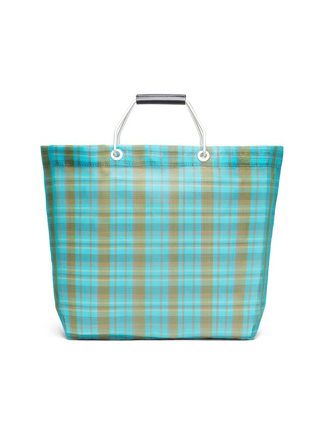 Marni MARNI MARKET pale blue and green striped shopping bag in polyamide  Man - 3