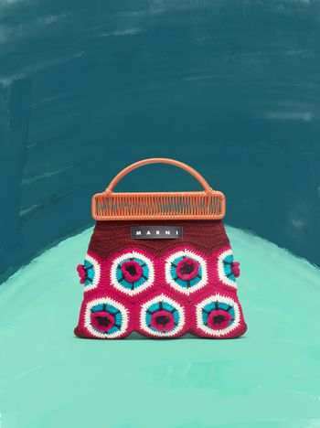 Marni MARNI MARKET orange frame bag in crochet wool with floral pattern Man