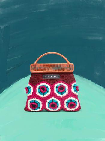 Marni MARNI MARKET orange frame bag in crochet wool with floral pattern Man