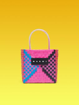 Marni MARNI MARKET squared shopping bag in woven polypropylene with transparent fuchsia handles Man