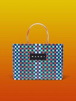 Marni MARNI MARKET E-W shopping bag in polypropylene with checkered pattern Man