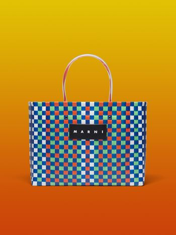 Marni MARNI MARKET E-W shopping bag in polypropylene with checkered pattern Man