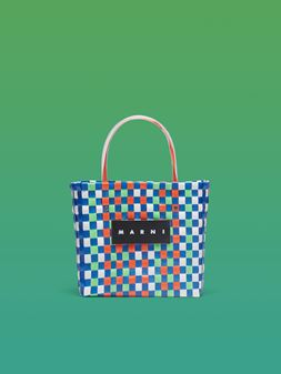 Marni MARNI MARKET orange, blue, white and green squared shopping bag in woven polypropylene  Man