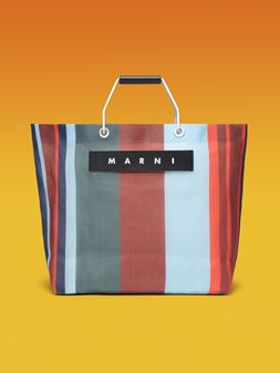 Marni MARNI MARKET ポリアミド製ショッピングバッグ ストライプ レッド/ブルー/グレー  メンズ