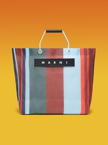 Marni MARNI MARKET red blue and gray striped shopping bag in polyamide  Man