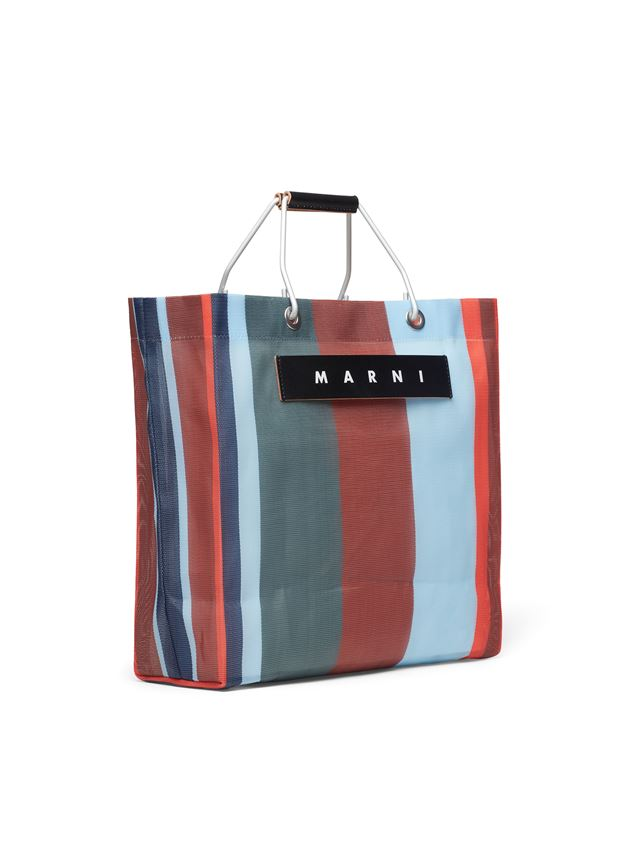 Marni MARNI MARKET red blue and gray striped shopping bag in polyamide  Man - 2