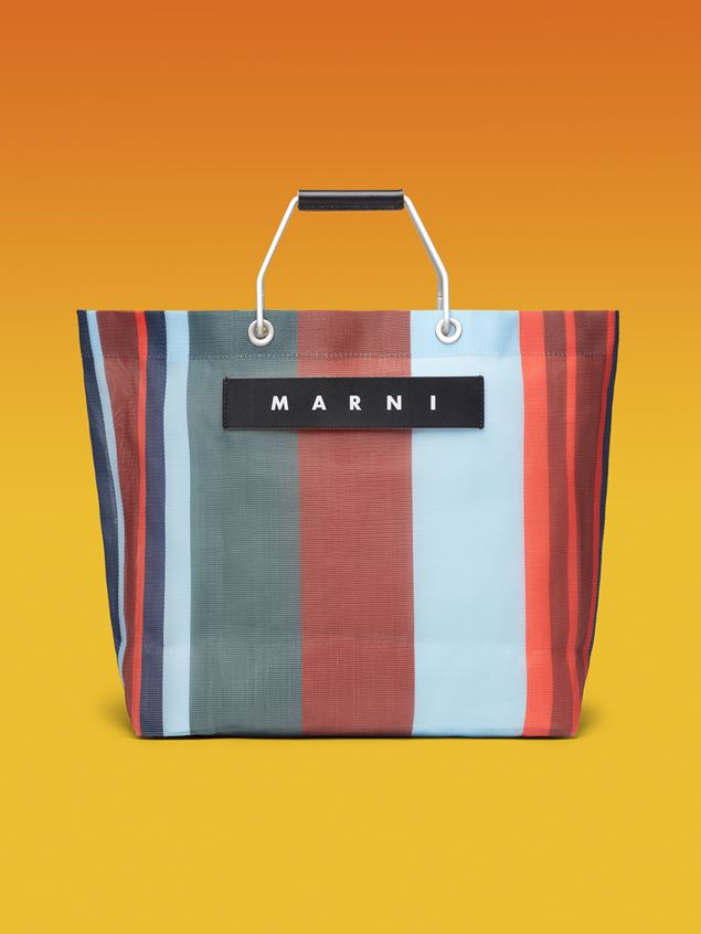 Marni MARNI MARKET red blue and gray striped shopping bag in polyamide  Man - 1