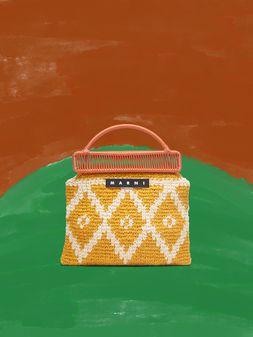 Marni MARNI MARKET orange frame bag in crochet wool with lozenge pattern Man