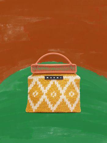 Marni MARNI MARKET orange frame bag in crochet wool with lozenge pattern Man f