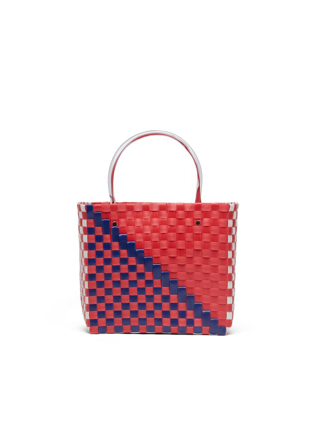 Marni MARNI MARKET squared shopping bag in woven polypropylene with transparent red handles Man