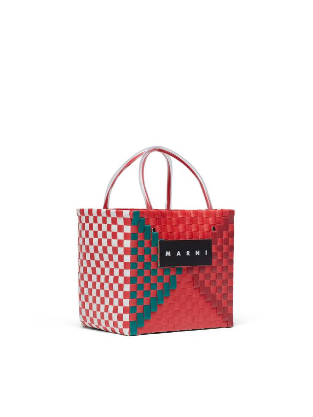 Marni MARNI MARKET squared shopping bag in woven polypropylene with transparent red handles Man - 2
