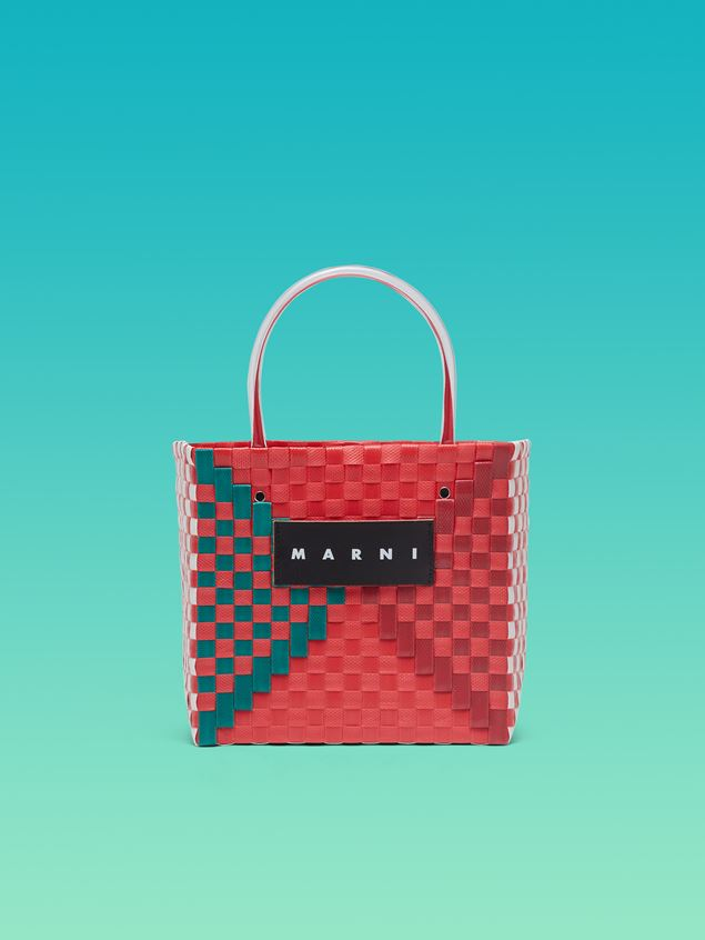 Marni MARNI MARKET squared shopping bag in woven polypropylene with transparent red handles Man - 1