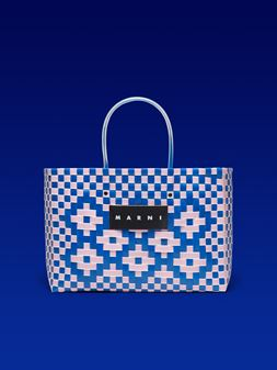 Marni MARNI MARKET E-W shopping bag in polypropylene with floral pattern Man