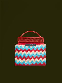 Marni MARNI MARKET red frame bag in crochet wool with zigzag pattern Man