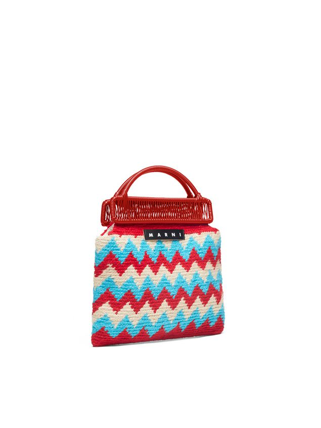 Marni MARNI MARKET red frame bag in crochet wool with zigzag pattern Man - 2
