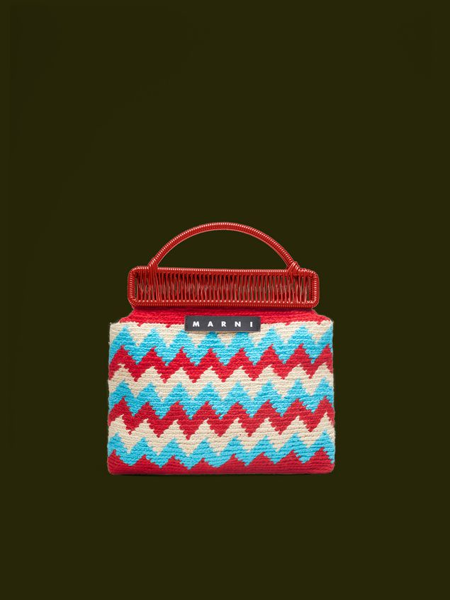 Marni MARNI MARKET red frame bag in crochet wool with zigzag pattern Man - 1