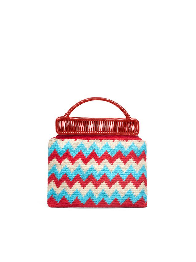Marni MARNI MARKET red frame bag in crochet wool with zigzag pattern Man - 3