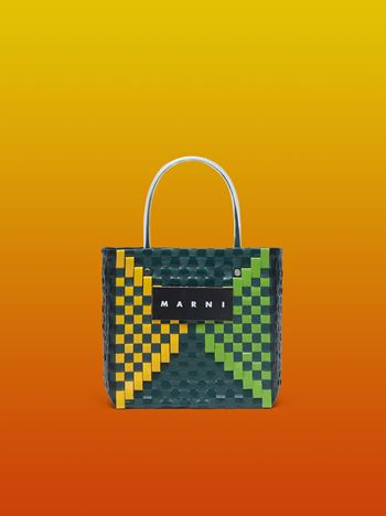 Marni MARNI MARKET squared shopping bag in woven polypropylene with transparent green handles Man
