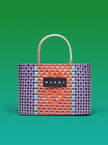 Marni MARNI MARKET E-W shopping bag in polypropylene with mosaic pattern Man