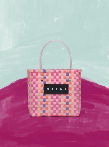 Marni MARNI MARKET pink, purple and orange squared shopping bag in woven polypropylene  Man