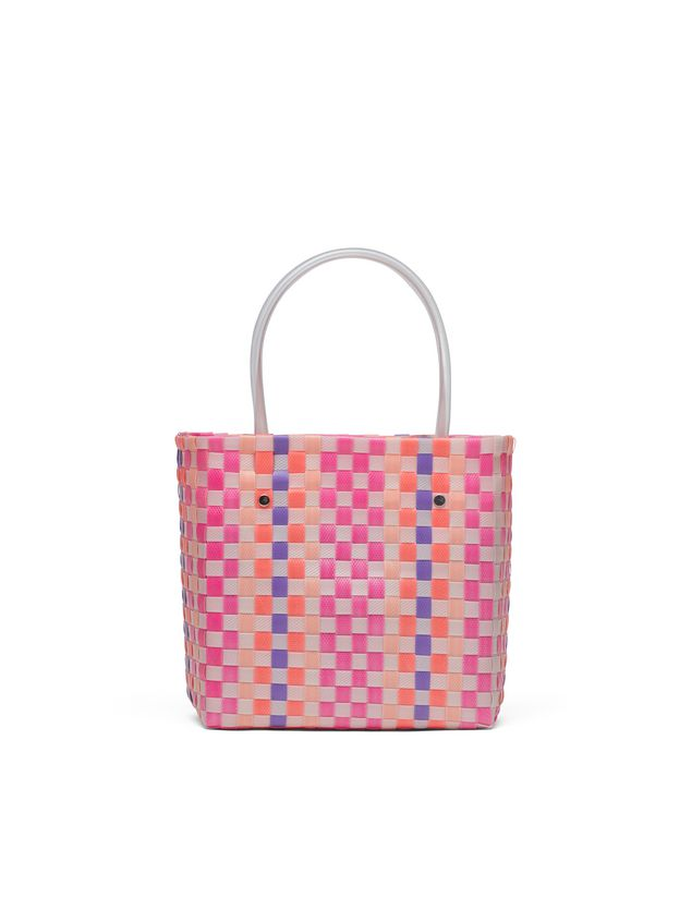 Marni MARNI MARKET pink, purple and orange squared shopping bag in woven polypropylene  Man