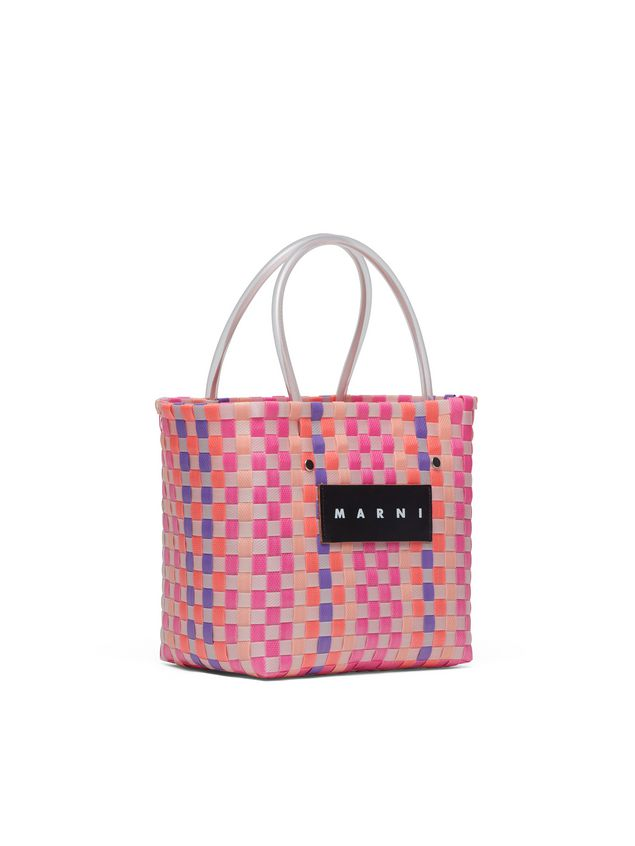 Marni MARNI MARKET pink, purple and orange squared shopping bag in woven polypropylene  Man - 2