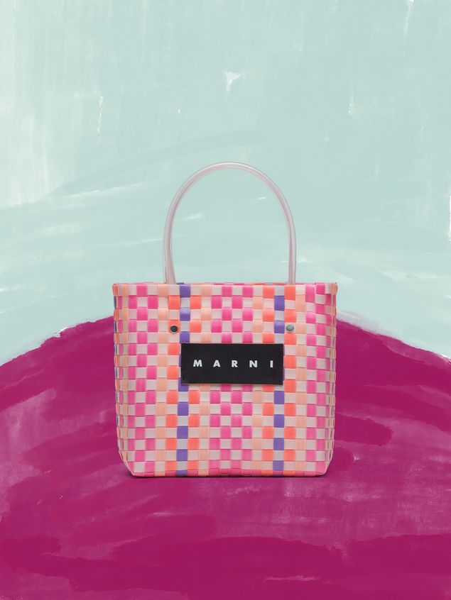 Marni MARNI MARKET pink, purple and orange squared shopping bag in woven polypropylene  Man - 1