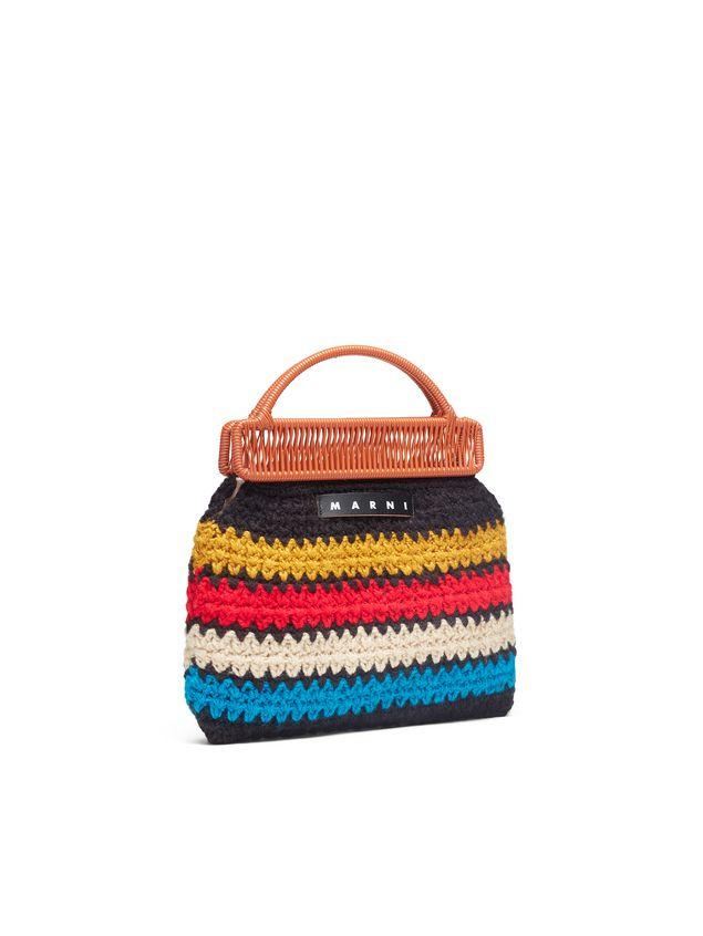 Marni MARNI MARKET orange frame bag in crochet wool with striped pattern Man - 2