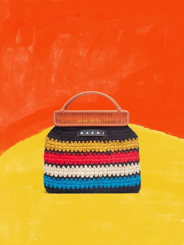 Marni MARNI MARKET orange frame bag in crochet wool with striped pattern Man - 1