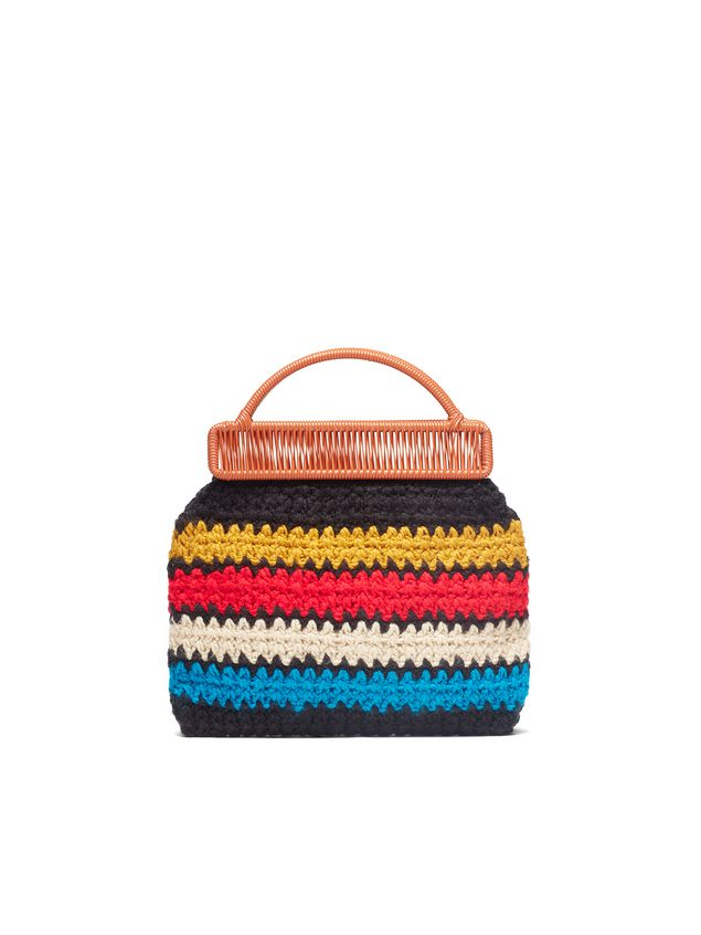 Marni MARNI MARKET orange frame bag in crochet wool with striped pattern Man - 3