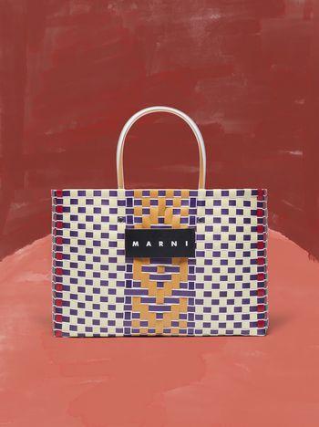 Marni MARNI MARKET E-W shopping bag in polypropylene with central stripe pattern Man f