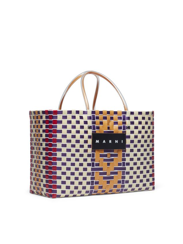 Marni MARNI MARKET E-W shopping bag in polypropylene with central stripe pattern Man - 2