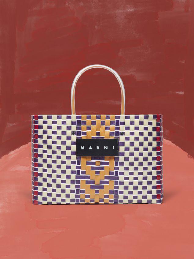 Marni MARNI MARKET E-W shopping bag in polypropylene with central stripe pattern Man - 1