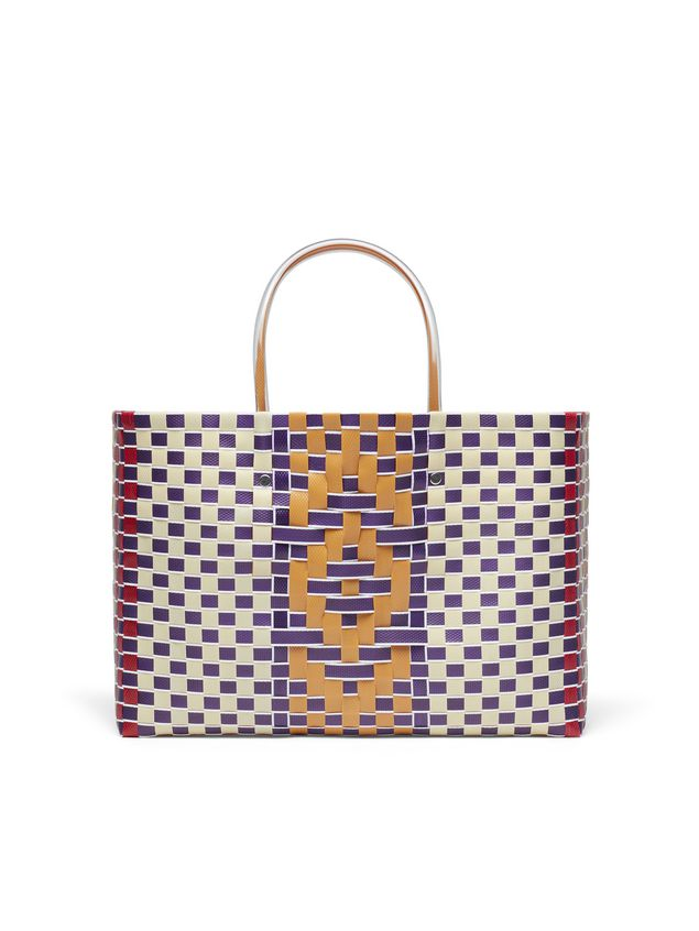 Marni MARNI MARKET E-W shopping bag in polypropylene with central stripe pattern Man - 3