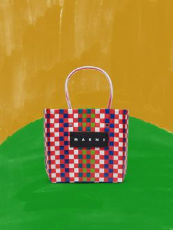 Marni MARNI MARKET green, blue, white and red squared shopping bag in woven polypropylene  Man