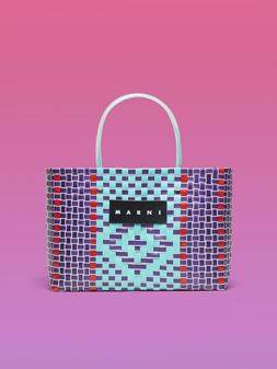 Marni MARNI MARKET E-W shopping bag in woven polypropylene with transparent pale blue handles Man