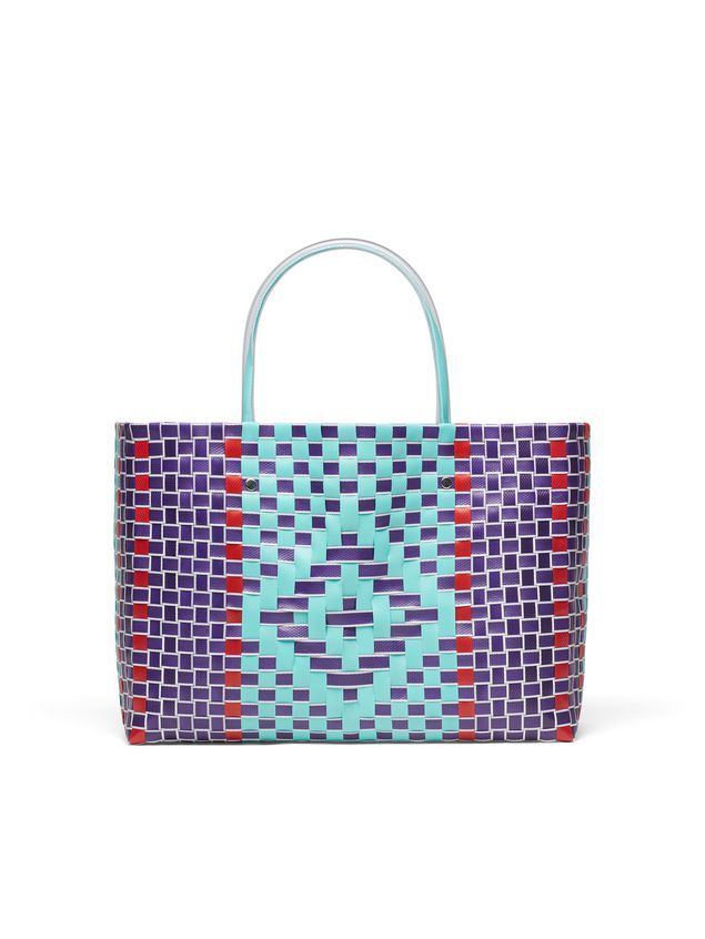 Marni MARNI MARKET E-W shopping bag in woven polypropylene with transparent pale blue handles Man
