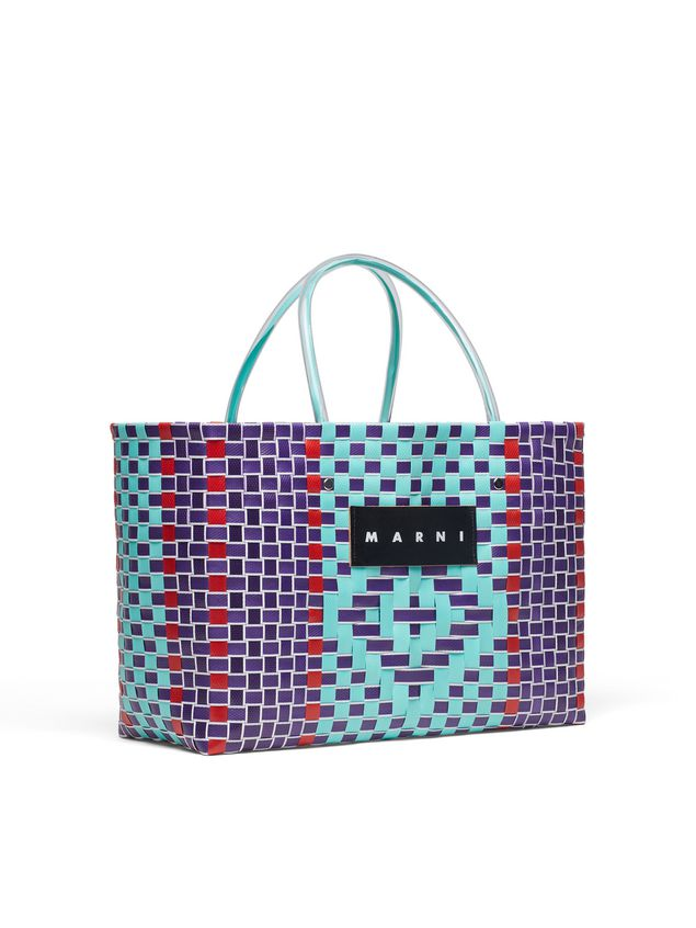Marni MARNI MARKET E-W shopping bag in woven polypropylene with transparent pale blue handles Man - 2
