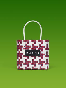 Marni MARNI MARKET white and red squared shopping bag with blue piping in woven polypropylene  Man