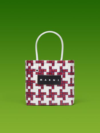 Marni MARNI MARKET white and red squared shopping bag with blue piping in woven polypropylene  Man f