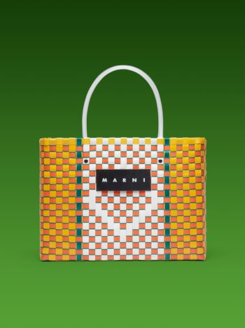 Marni MARNI MARKET E-W shopping bag in woven polypropylene with transparent handles  Man
