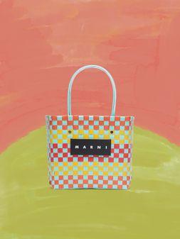 Marni MARNI MARKET yellow, orange and pale blue squared shopping bag in woven polypropylene  Man