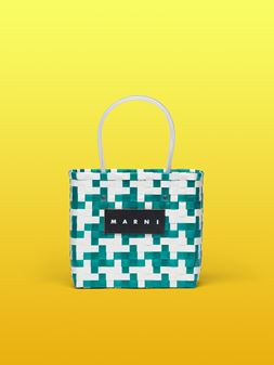 Marni MARNI MARKET green and white squared shopping bag in woven polypropylene  Man