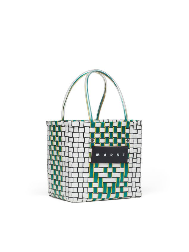 Marni MARNI MARKET green and white squared shopping bag with yellow piping in woven polypropylene  Man - 2