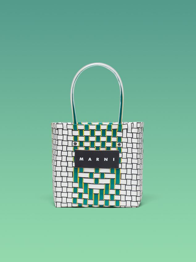 Marni MARNI MARKET green and white squared shopping bag with yellow piping in woven polypropylene  Man - 1
