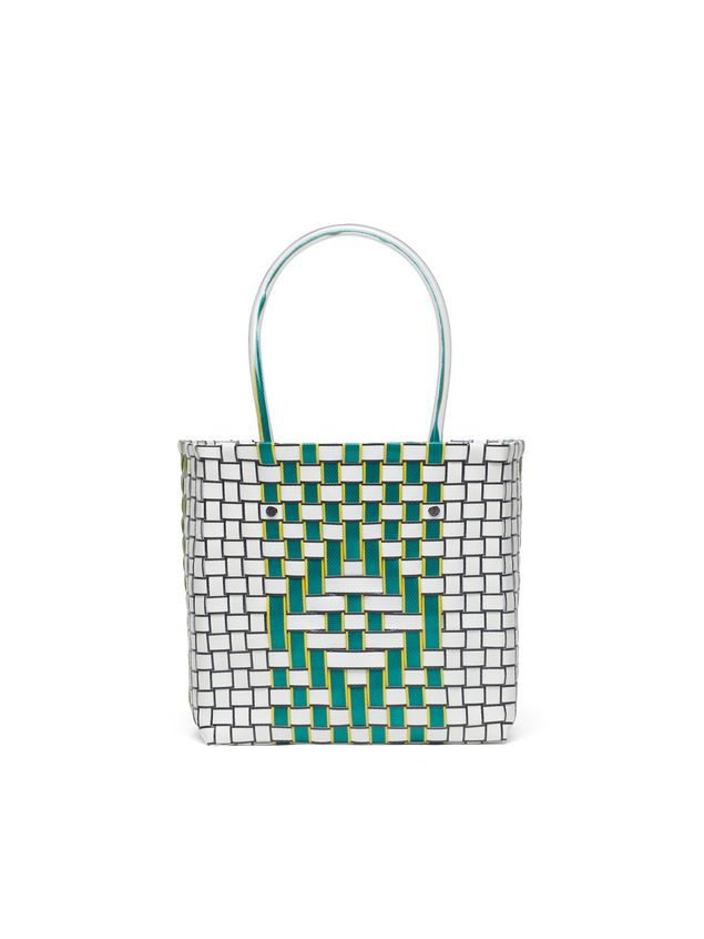 Marni MARNI MARKET green and white squared shopping bag with yellow piping in woven polypropylene  Man - 3