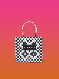 Marni MARNI MARKET white and black squared shopping bag in woven polypropylene  Man